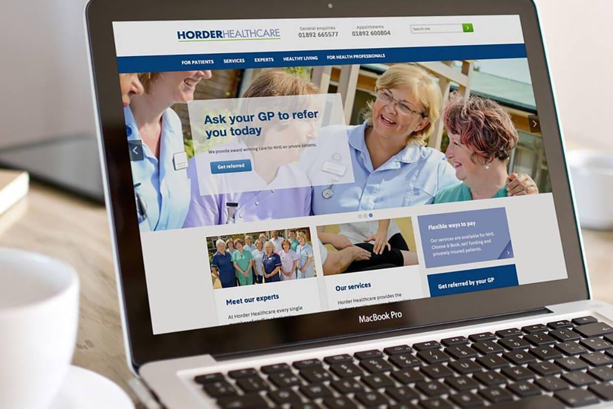 Horder Healthcare website on a laptop