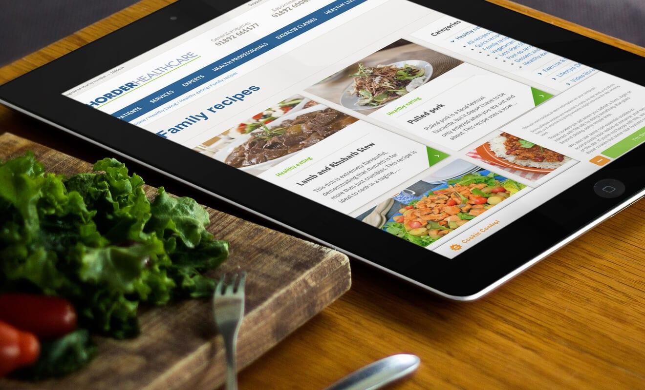 Horder Healthcare website on an iPad