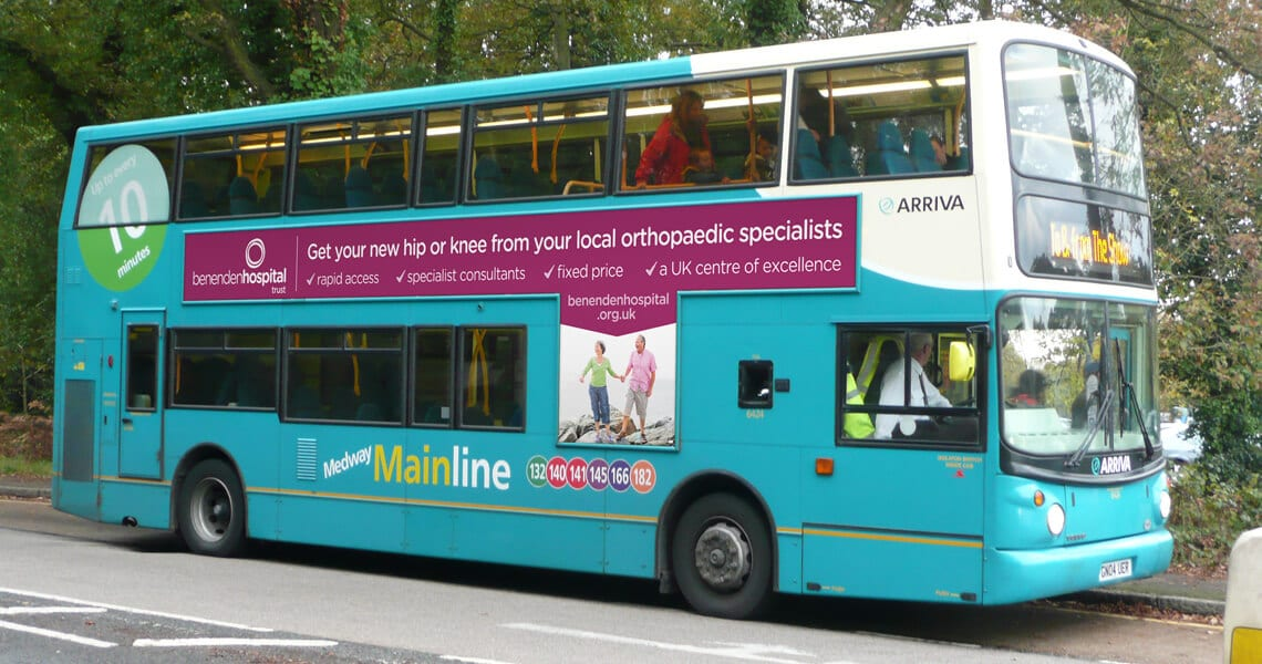 Benenden Hospital campaign bus advert
