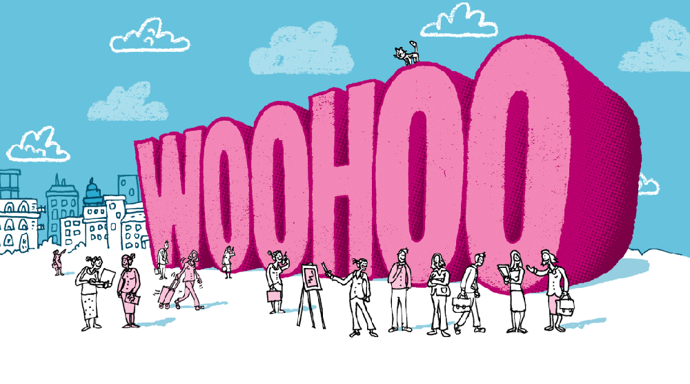 Beaming illustration saying woohoo