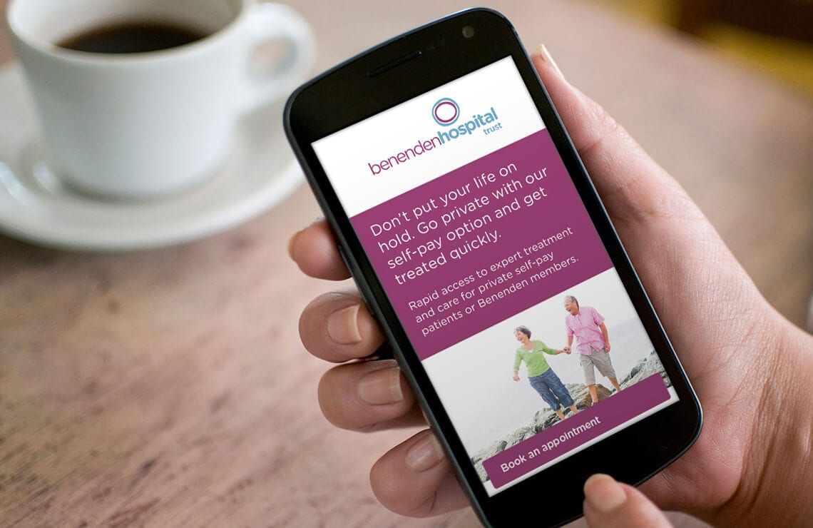 Benenden Hospital website on a smartphone