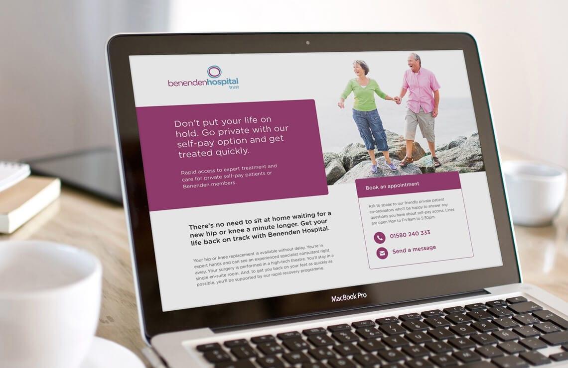 Benenden Hospital website on a laptop