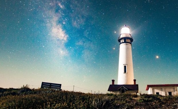Brand visibility - a lighthouse against a night sky
