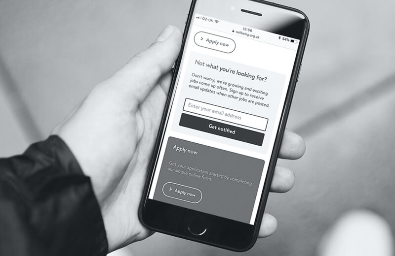 Welbeing application form on iPhone