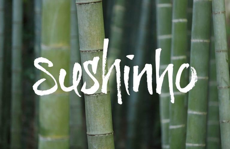 Sushinho logo on bamboo background