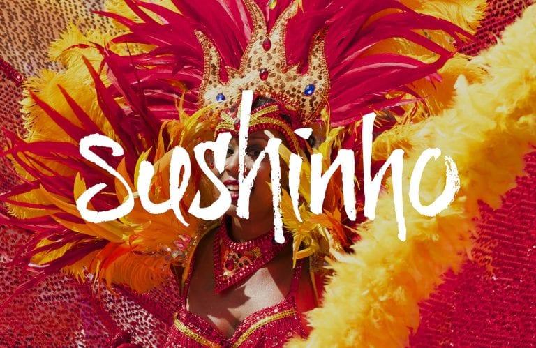 Sushinho logo on carnival background