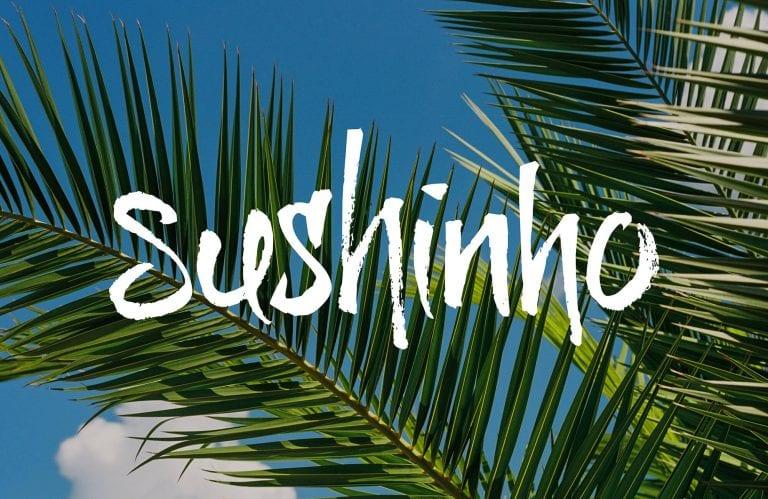 Sushinho logo on palm background
