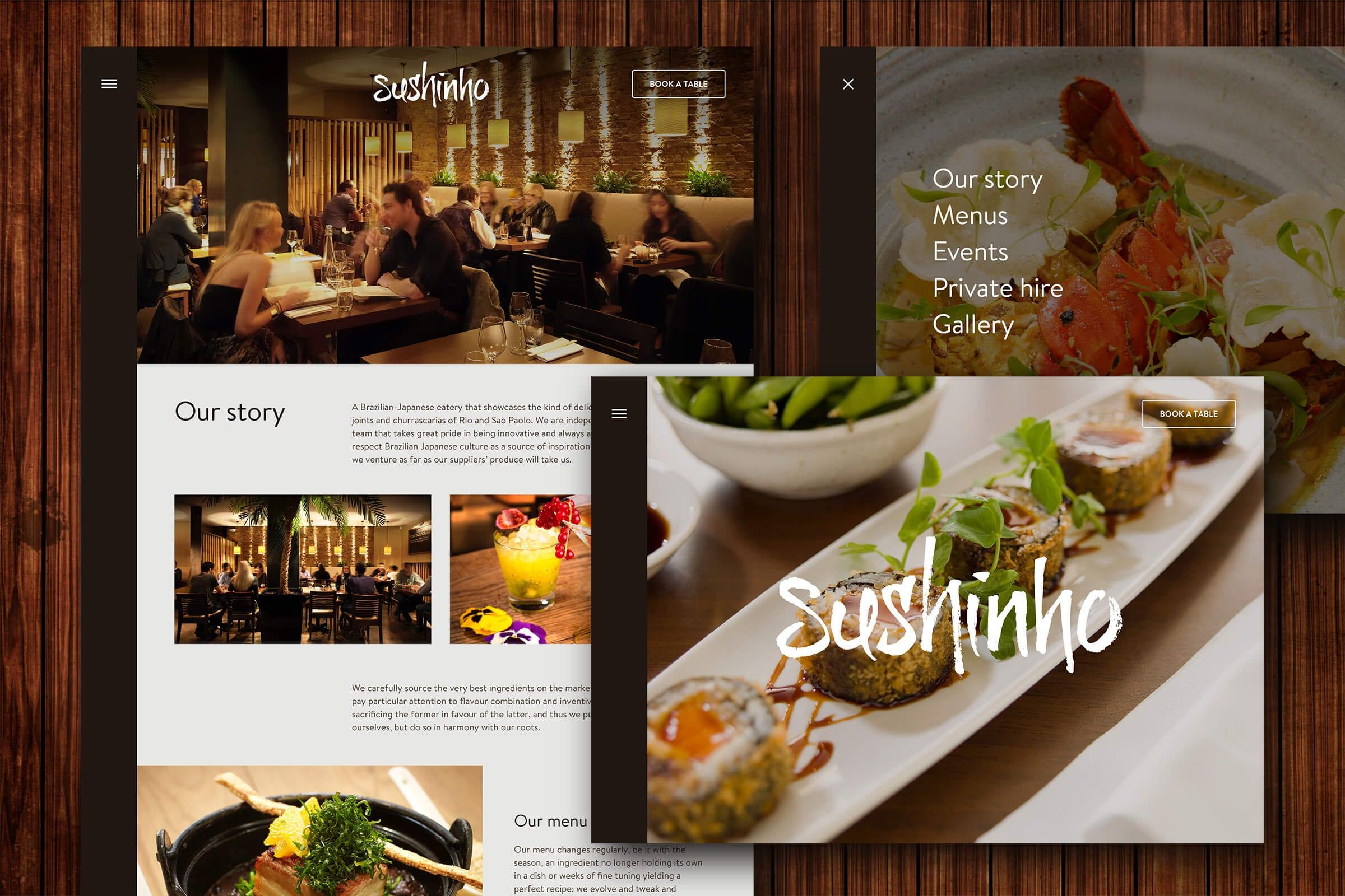 Sushinho website screenshots