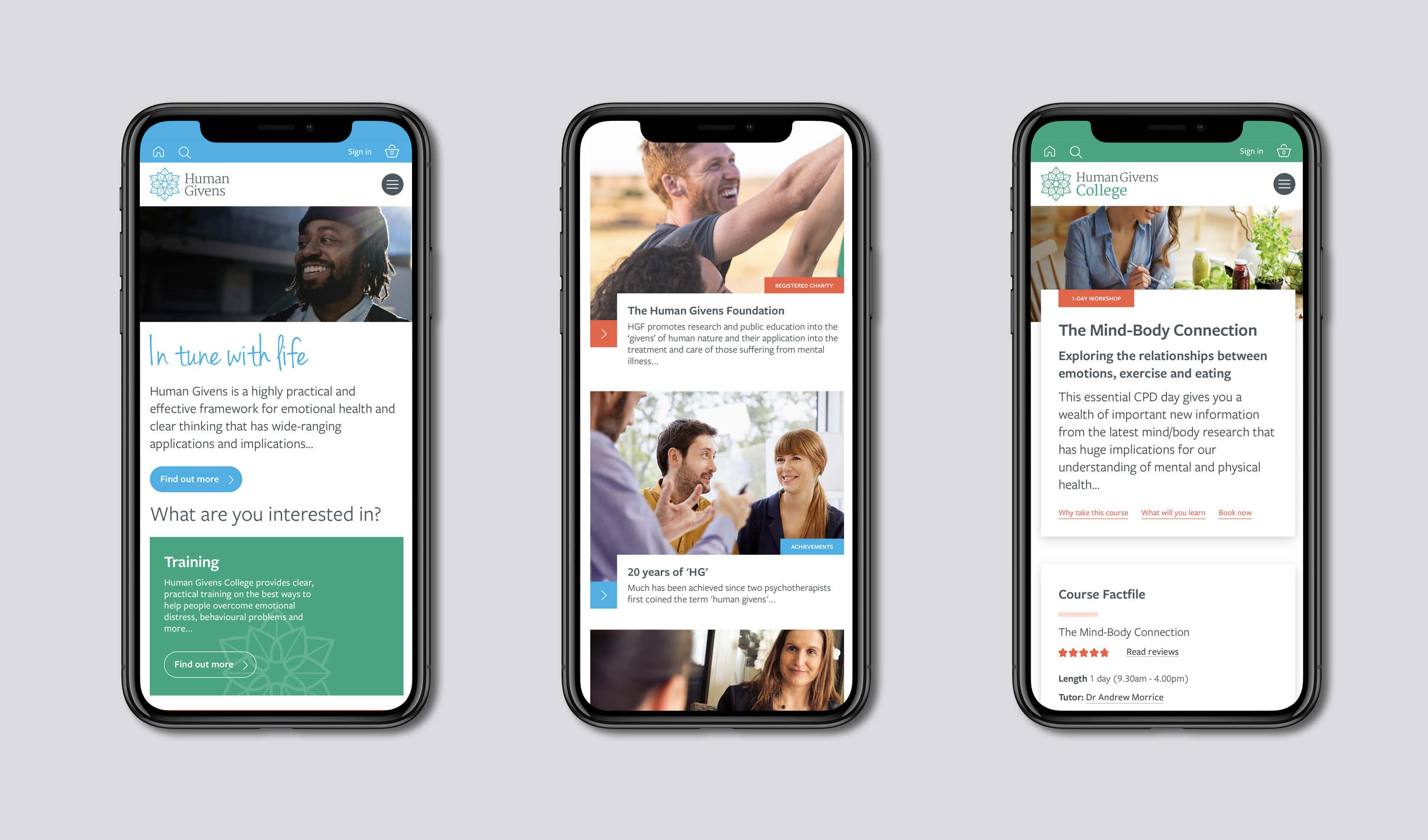 Human Givens mobile website