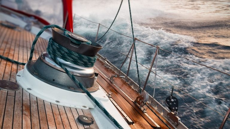A ship navigating a storm